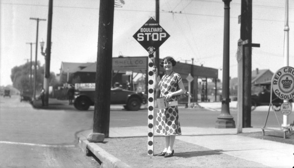 One of the first stop signs installed in Los Angeles, circa 1925 Credit: USC Libraries